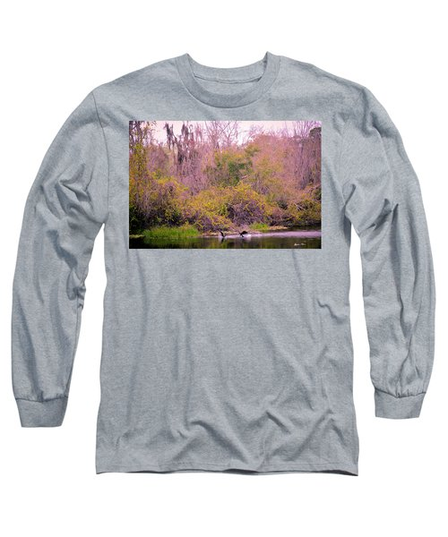 Long Sleeve T-Shirt featuring the photograph Birds Playing In The Pond 1 by Madeline Ellis