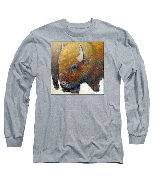 Bison For T-shirts And Accessories Long Sleeve T-Shirt by Loretta Luglio
