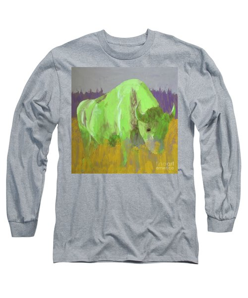 Bison On The American Plains Long Sleeve T-Shirt by Donald J Ryker III