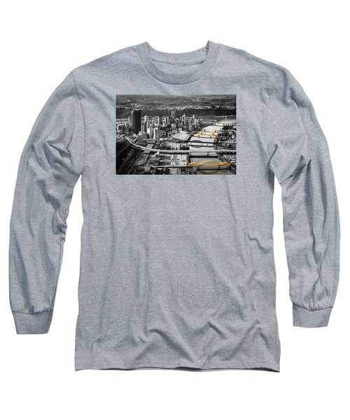 Black And Gold Pittsburgh  Long Sleeve T-Shirt by Emmanuel Panagiotakis