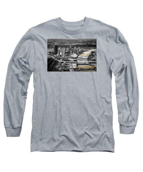 Black And Gold Pittsburgh  Long Sleeve T-Shirt by Emmanuel Panagiotakis
