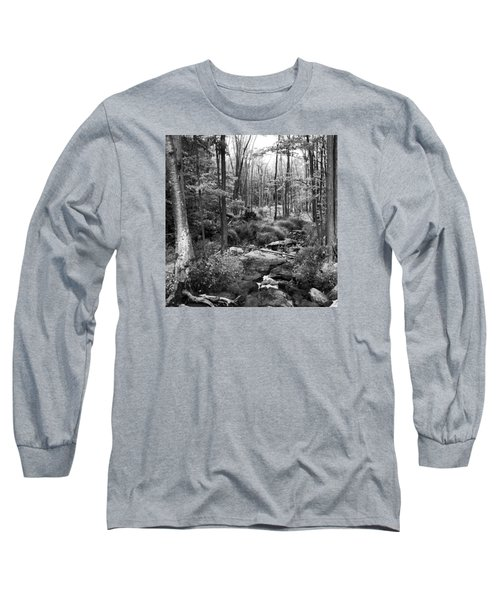 Black And White Babbling Brook Long Sleeve T-Shirt by Jason Nicholas