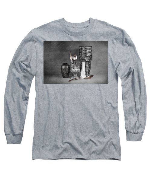 Black And White Composition Long Sleeve T-Shirt by Tom Mc Nemar