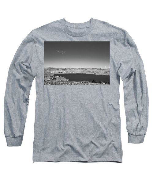 Black And White Landscape Photo Of Dry Glacia Ancian Rock Desert Long Sleeve T-Shirt by Jingjits Photography