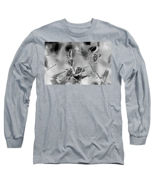 Black And White Monarchs Long Sleeve T-Shirt by Deprise Brescia