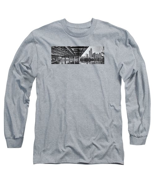 Black And White Panorama Of Downtown Austin Skyline Under The Bridge - Austin Texas  Long Sleeve T-Shirt