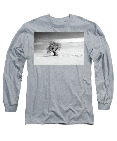 Black And White Tree In Winter Long Sleeve T-Shirt
