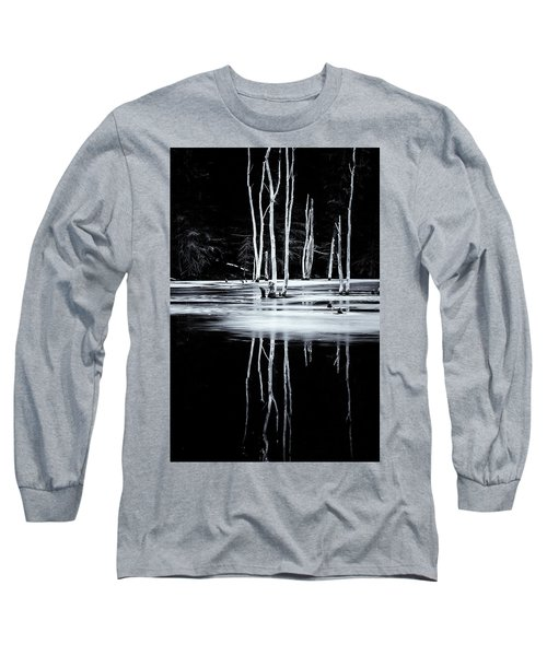 Black And White Winter Thaw Relections Long Sleeve T-Shirt by Tom Singleton