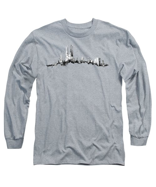 Black Barcelona Skyline Long Sleeve T-Shirt by Aloke Creative Store
