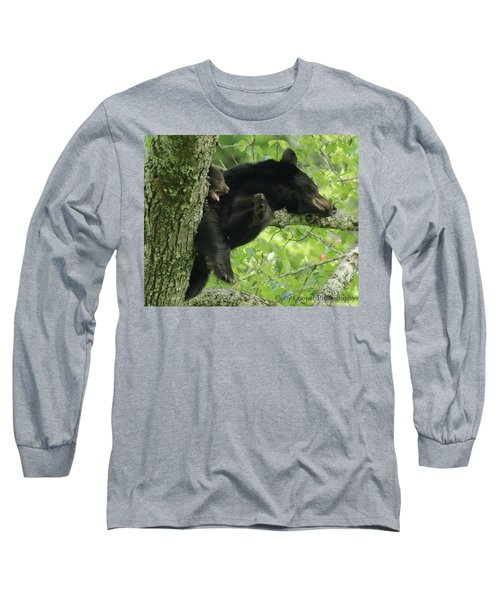 Long Sleeve T-Shirt featuring the photograph Black Bear In Tree With Cub by Coby Cooper