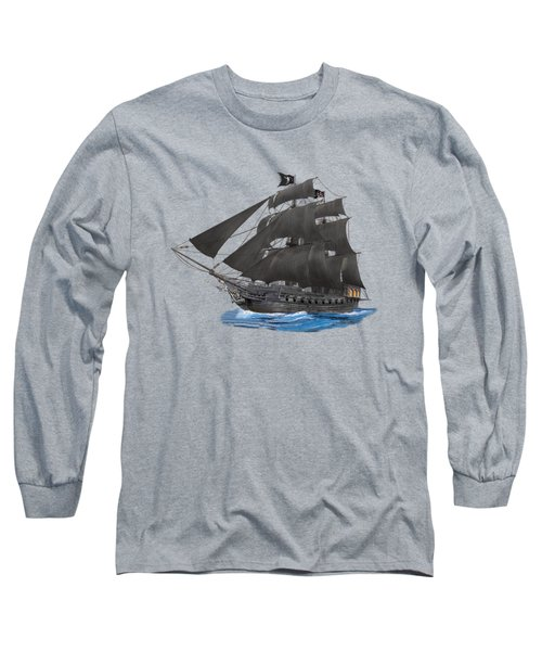 Black Beard's Pirate Ship Long Sleeve T-Shirt by Glenn Holbrook