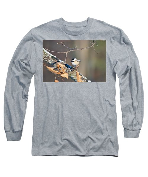Black Capped Chickadee 1134 Long Sleeve T-Shirt by Michael Peychich
