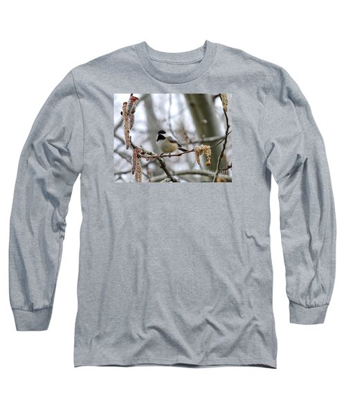Long Sleeve T-Shirt featuring the photograph Black-capped Chickadee 20120321_39a by Tina Hopkins