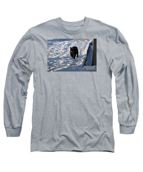 Black Cat In Snow Long Sleeve T-Shirt by Mark McReynolds
