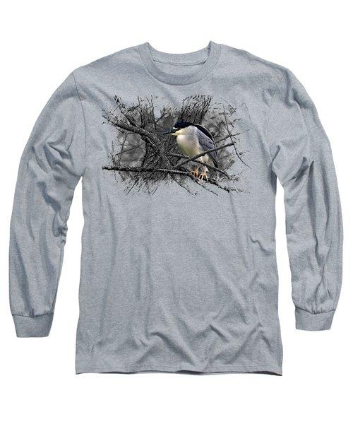 Black Crowned Night Heron 001 Long Sleeve T-Shirt