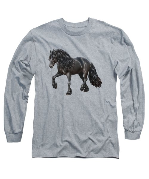 Black Friesian Horse In Snow Long Sleeve T-Shirt by Crista Forest