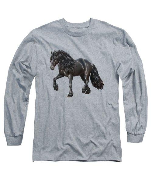 Black Friesian Horse In Snow Long Sleeve T-Shirt