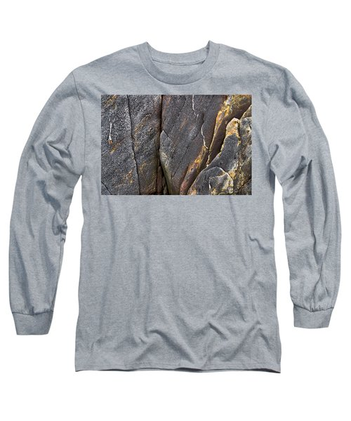 Long Sleeve T-Shirt featuring the photograph Black Granite Abstract Two by Peter J Sucy