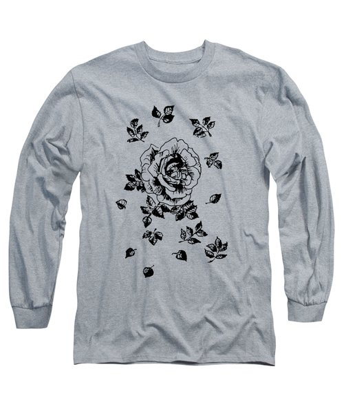 Black Graphic Rose Long Sleeve T-Shirt