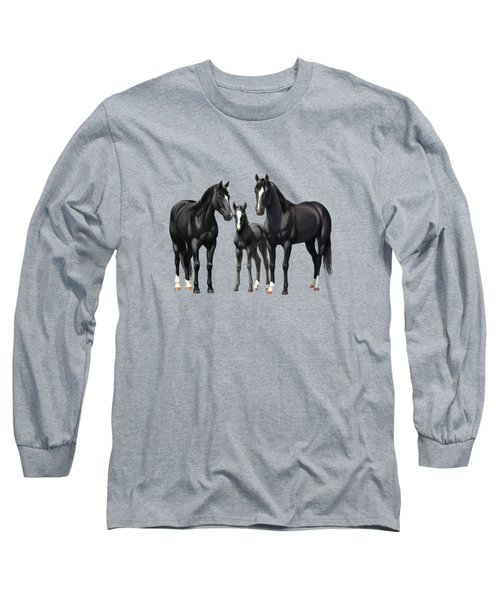 Black Horses In Winter Pasture Long Sleeve T-Shirt