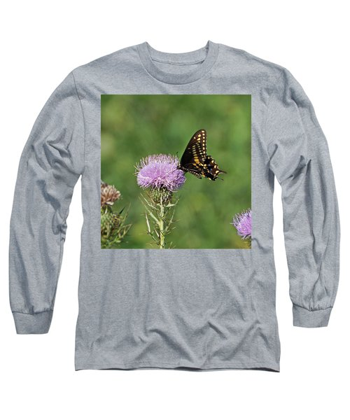 Long Sleeve T-Shirt featuring the photograph Black Swallowtail Butterfly by Sandy Keeton