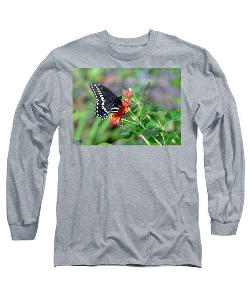 Long Sleeve T-Shirt featuring the photograph Black Swallowtail by Kay Lovingood