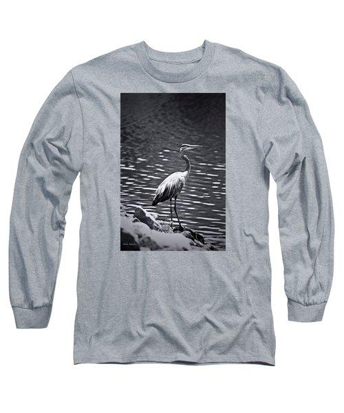 Black/white  Heron Long Sleeve T-Shirt by Debra     Vatalaro
