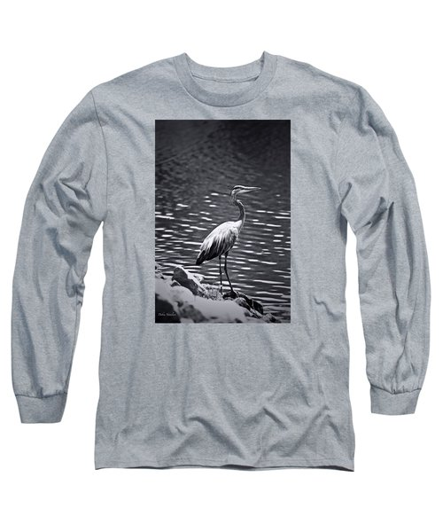 Black/white  Heron Long Sleeve T-Shirt