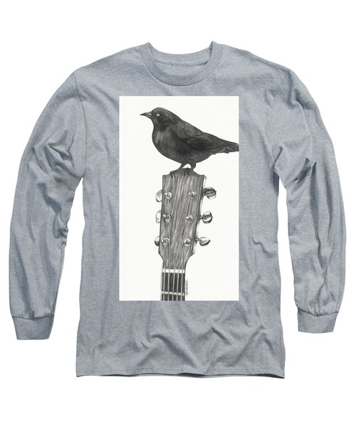 Long Sleeve T-Shirt featuring the drawing Blackbird Solo  by Meagan  Visser