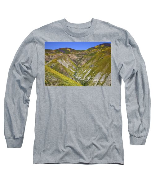 Blanket Of Wildflowers Cover The Temblor Range At Carrizo Plain National Monument Long Sleeve T-Shirt by Jetson Nguyen