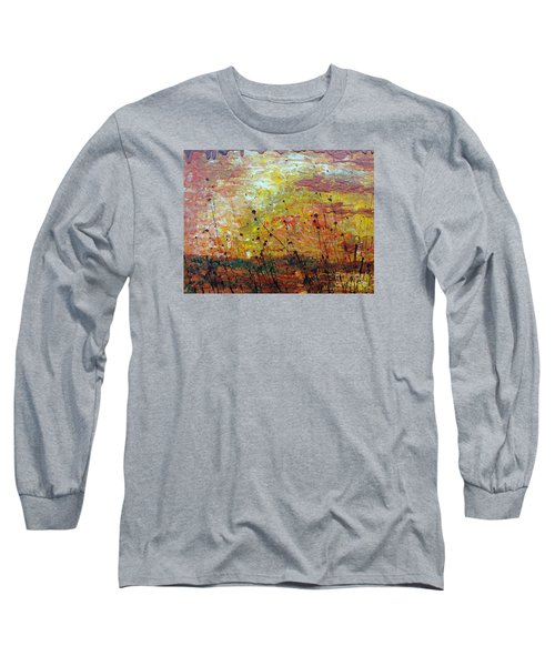 Long Sleeve T-Shirt featuring the painting Blazing Prairie by Jacqueline Athmann