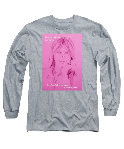 Long Sleeve T-Shirt featuring the drawing Blessed Are They by Denise Fulmer