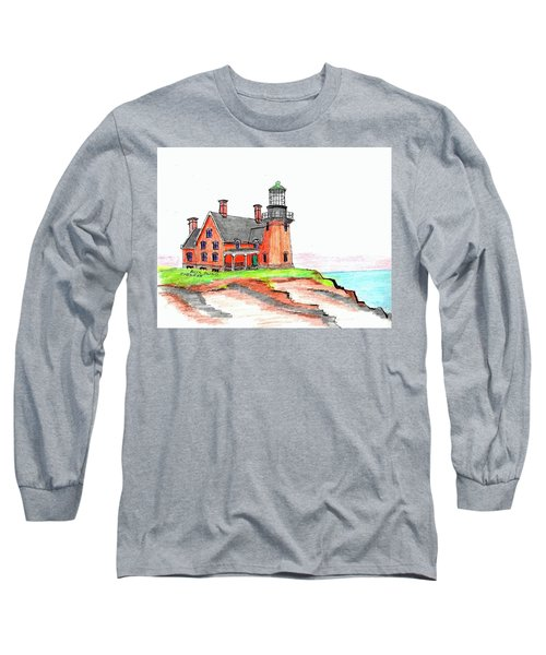 Block Island South Lighthouse Long Sleeve T-Shirt by Paul Meinerth