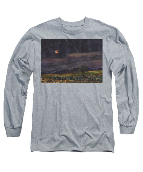 Blood Moon Over Boulder Long Sleeve T-Shirt by Anne Gifford
