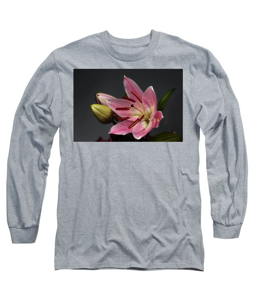 Blossoming Pink Lily Flower On Dark Background Long Sleeve T-Shirt