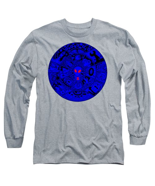 Blue Alien Mandala Long Sleeve T-Shirt