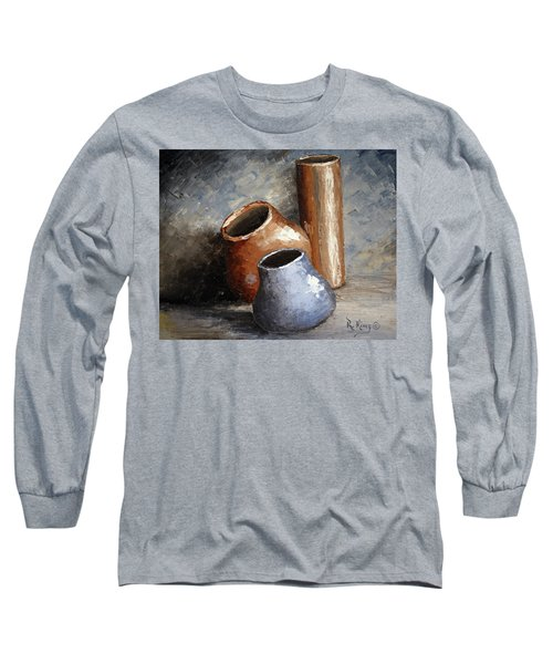 Blue And Brown Pots Long Sleeve T-Shirt