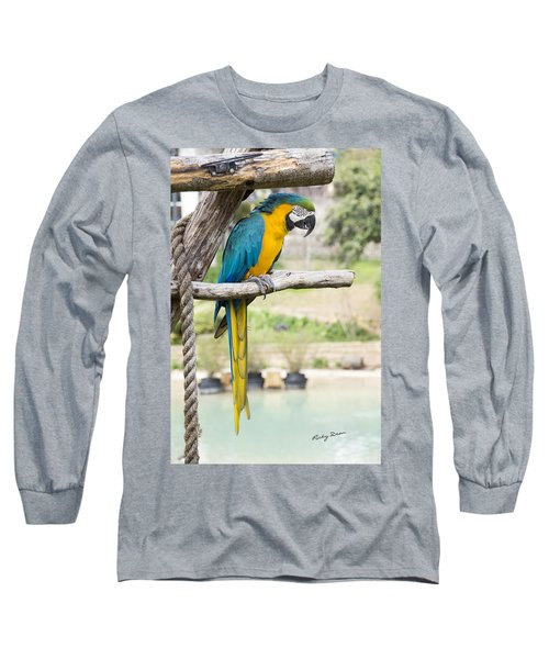 Blue And Gold Macaw Long Sleeve T-Shirt by Ricky Dean