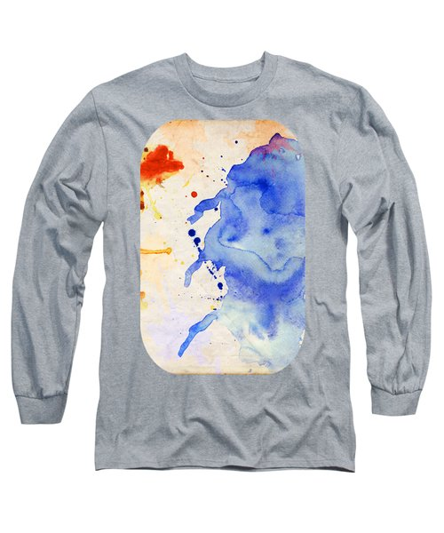 Blue And Orange Color Splash Long Sleeve T-Shirt