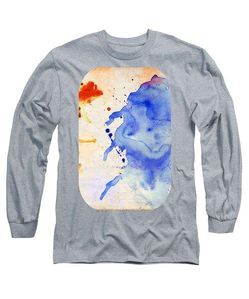 Blue And Orange Color Splash Long Sleeve T-Shirt