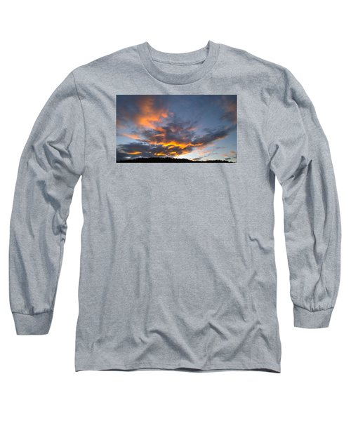 Long Sleeve T-Shirt featuring the photograph Blue And Orange Sunset Over Blue Ridge Mountains by Kelly Hazel