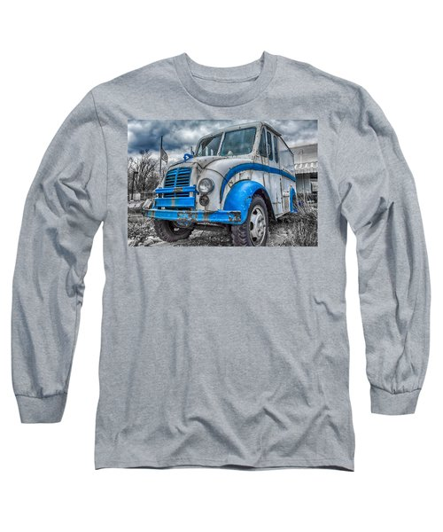 Blue And White Divco Long Sleeve T-Shirt by Guy Whiteley