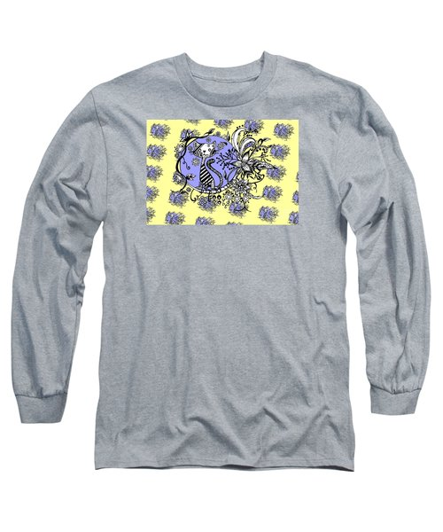 Long Sleeve T-Shirt featuring the drawing Blue And Yellow Cat Pattern by Saribelle Rodriguez