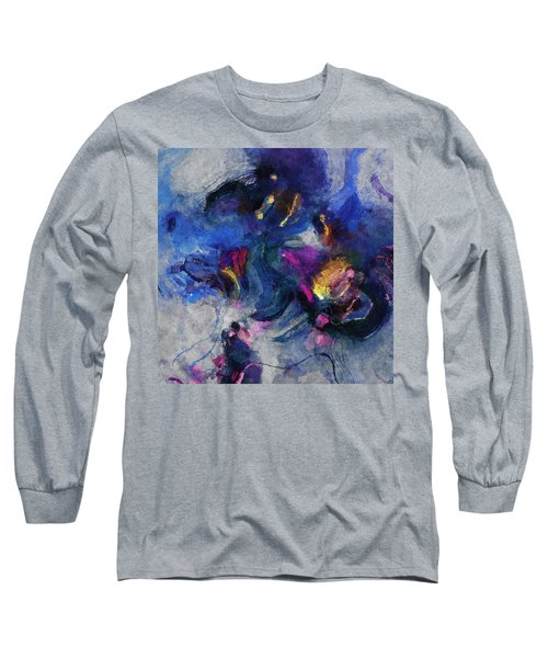 Blue And Yellow Minimalist / Abstract Painting Long Sleeve T-Shirt by Ayse Deniz