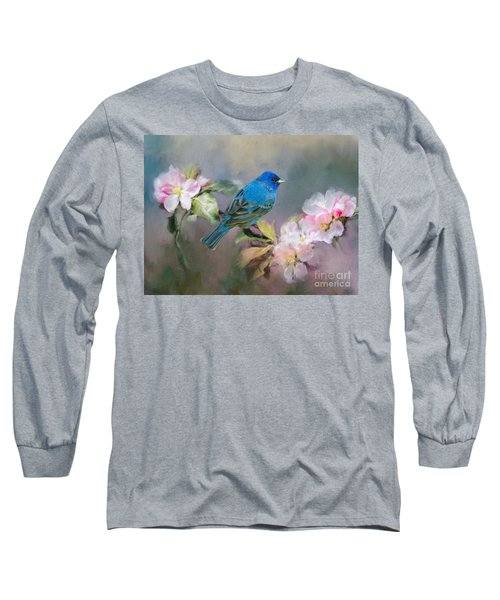 Blue Beauty In The Flowers Long Sleeve T-Shirt