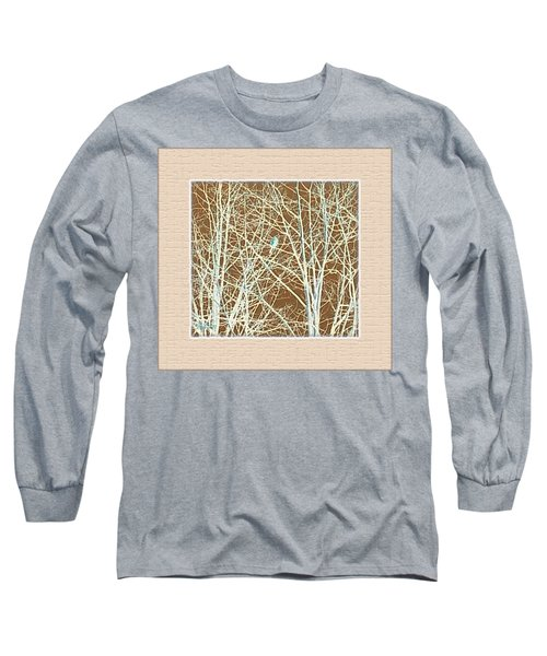 Blue Bird In Winter Tree Long Sleeve T-Shirt by Felipe Adan Lerma