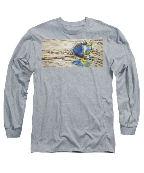 Blue Boat Long Sleeve T-Shirt by Marty Garland