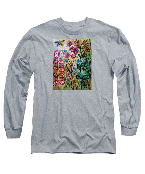 Long Sleeve T-Shirt featuring the mixed media Blue Bug In The Magic Garden by Mimulux patricia no No