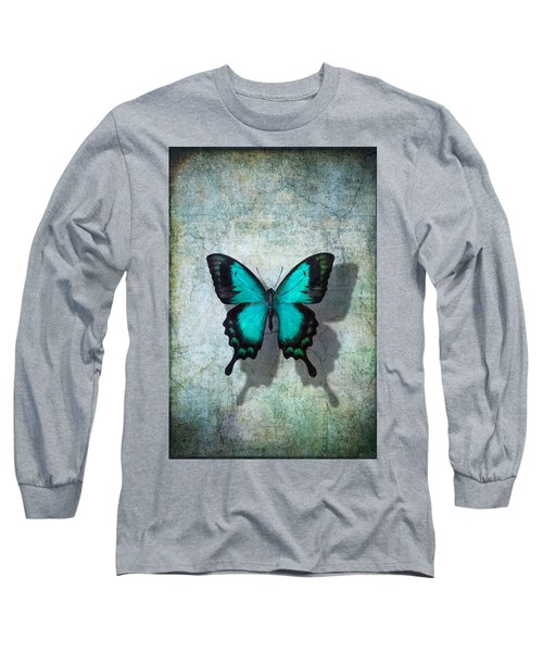 Blue Butterfly Resting Long Sleeve T-Shirt