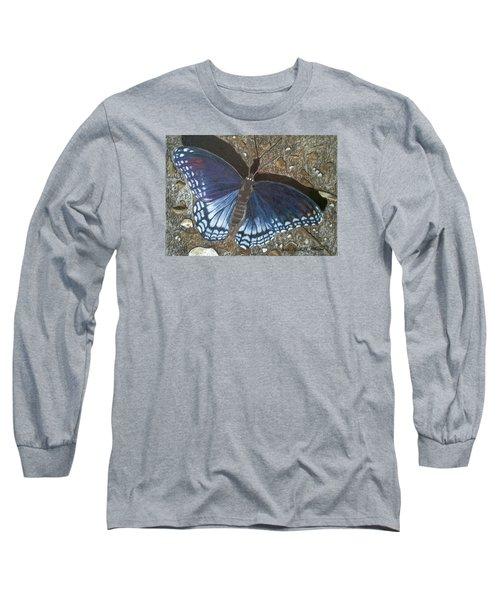 Blue Butterfly - Savannah Charaxes Long Sleeve T-Shirt by Anita Putman